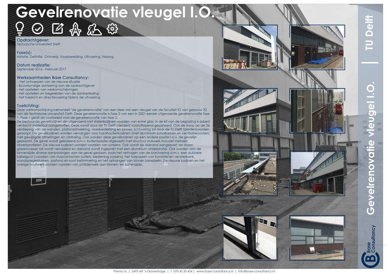 Gevelrenovatie vleugel faculteit IO TU Delft